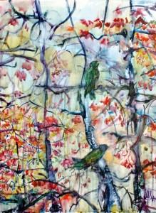 Birds on a flowering tree