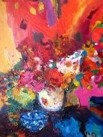 Abstract Still Life II, Acrylic on canvas, 24x18, $350